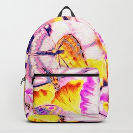 Pink Butterflies on Yellow Petals Backpack