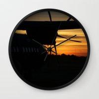 plane Wall Clocks featuring Plane by Eliel Freitas Jr