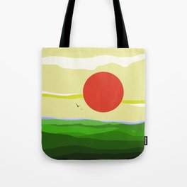 green landscape with big red japanese sun Tote Bag