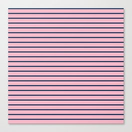 Pink and Navy Blue Horizontal Stripes Canvas Print
