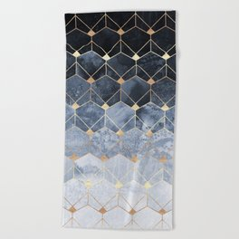 Blue Hexagons And Diamonds Beach Towel