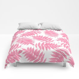 Modern girly pink botanical tropical leaves Comforters