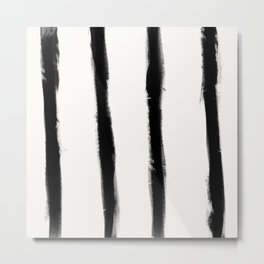 Medium Brush Strokes Vertical Black on Off White Metal Print