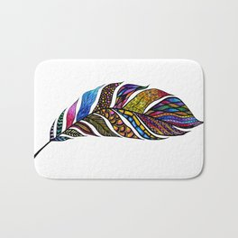 Colorful Watercolor Hand Drawn Tangle Feather Bath Mat