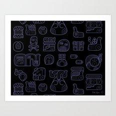 Picto-glyphs Story--Negro Art Print