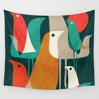 minimalist Wall Tapestries featuring Flock of Birds by Picomodi