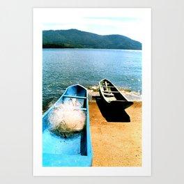 Peaceful Canoes Art Print
