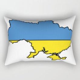 Ukraine Map with Ukrainian Flag Rectangular Pillow