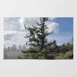 Gnarled Tree Against Blue Sky and Clouds, Beautiful Landscape of Old Tree Rug