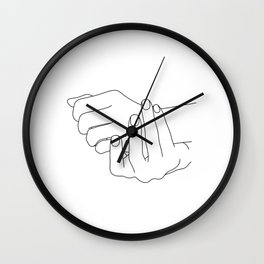 Hands line drawing illustration - Jenna Wall Clock