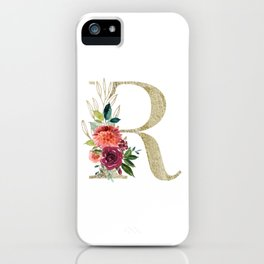 Letter R Monogram Gold and Watercolor Flowers iPhone Case