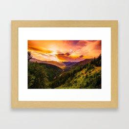 Mountains sunset Framed Art Print