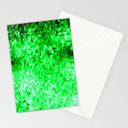 Grass Green Pixels Stationery Cards
