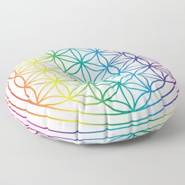 Flower Of Life Rainbow Sacred Geometry Floor Pillow