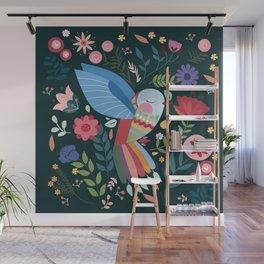 Folk Art Inspired Hummingbird With A Flurry Of Flowers Wall Mural
