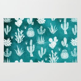 Cactus Pattern on Teal Rug