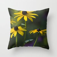daisies Throw Pillows featuring Daisies by Christina Rollo