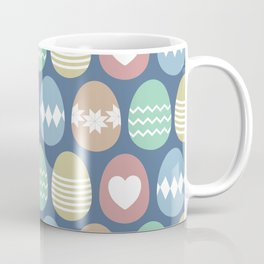Cute, colorful painted Easter eggs pattern with dark blue background Coffee Mug