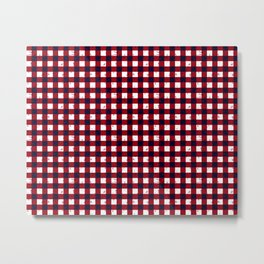 Gingham Red Black and White Pattern Metal Print