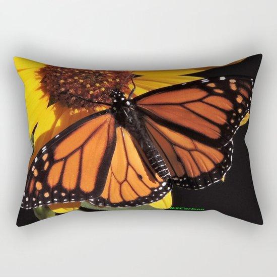 Monarch on a Desert Sunflower Rectangular Pillow