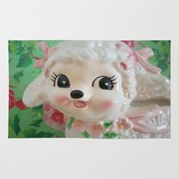 lamb Area & Throw Rugs featuring  lamb  by Vintage  Cuteness