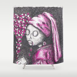 Girl with a pearl earring in 2016 - Anxiety and Gretel Shower Curtain