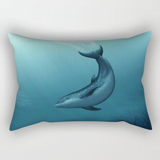 """Siren of the Blue Lagoon"" by Amber Marine ~ Dolphin Art, Digital Painting, (c) 2015 Rectangular Pillow"