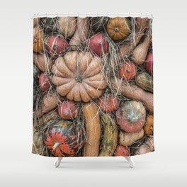 Pumpkins on hay Shower Curtain