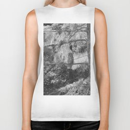Owl Spirit in the Woods, Shades of Gray Biker Tank