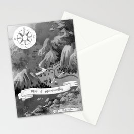 Moominvalley Map interpretation (Black & White) Stationery Cards