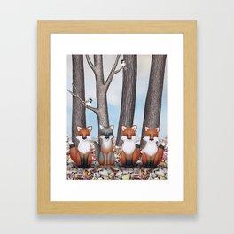 fox friends (with chickadees) Framed Art Print