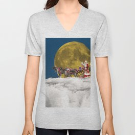 Santa and His Sleigh Unisex V-Neck