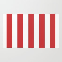 Madder Lake red - solid color - white vertical lines pattern Rug