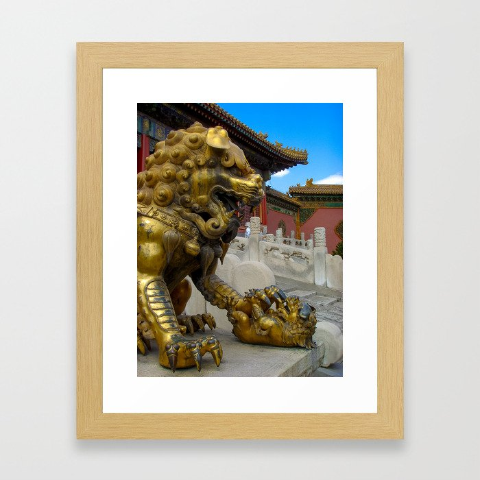 Mother Lion. Beijing Forbidden Palace. Framed Art Print