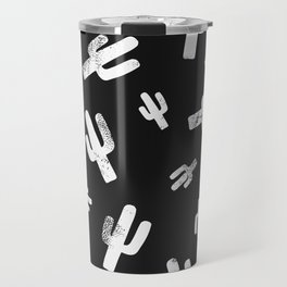 Black and White Block Print Cactus Pattern Travel Mug