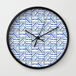 symetric tartan and gingham 14 -vichy, gingham,strip,square,geometric, sober,tartan Wall Clock