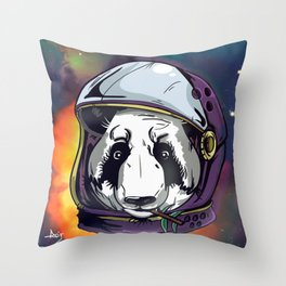 Panda in Spase Throw Pillow