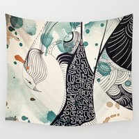 egypt Wall Tapestries featuring Bird from Egypt by Krismarx