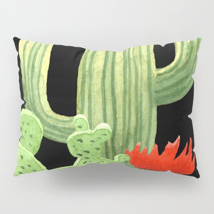 Perfect Cactus Bunch on Black Pillow Sham