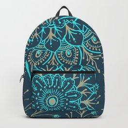 Teal Gold Mandala Backpack