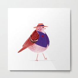 Mr. Fat Bird   Fedora Hat   Retro Metal Print