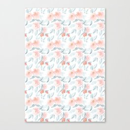 Soft Pink Watercolour Roses Canvas Print