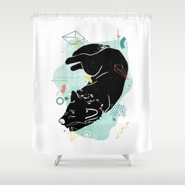 Dreaming wolf illustration Shower Curtain