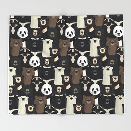 Bears of the world pattern Throw Blanket