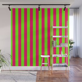 Super Bright Neon Pink and Green Vertical Beach Hut Stripes Wall Mural