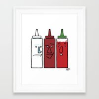 sriracha Framed Art Prints featuring Mayo, BBQ, and Sriracha by Dee Bee Monster