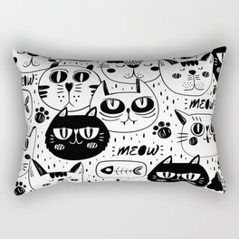 Doodle hand drawn pattern with cute cats Rectangular Pillow