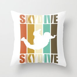 Skydive - skydiving, vintage Throw Pillow