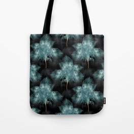 Tropical Metallic Blue & Gold Palm Leaves Summer Design Tote Bag
