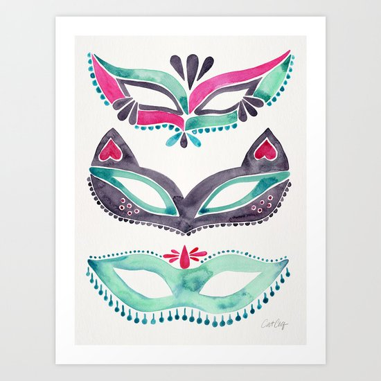 Masquerade Mask Trio – Pink & Mint Palette Art Print